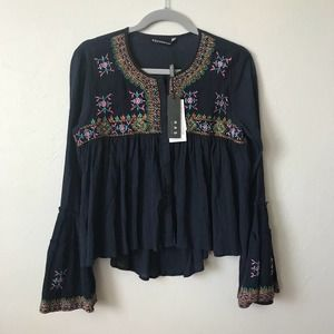 KAS New York Top Boho Bell Sleeves Embroidered XS